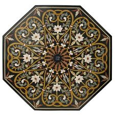 """36"""" Marble Coffee Dining Table Top Real Gems Marquetry Mosaic Gifts Home Decor"""