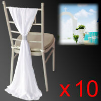 10x Chiffon Chair Sashes Bows Wedding Party Reception Decorations Venue Styling