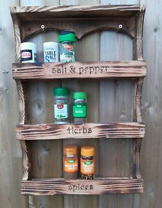 Wooden spice rack wall mounted