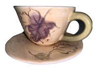 "Hues & Brews Multi-color 9.5 Oz. Seasons Tea Cups and Saucers Set 3x 5.5x 4.38"""