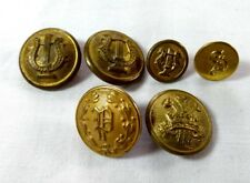 Vintage Brass Buttons Lot Military Police Lyre Superior Quality Waterbury