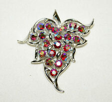 Vintage Red Aurora Borealis Rhinestone Silver Tone Brooch Pin By Sarah Coventry