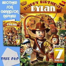 Indiana Jones Lego-Personalizado Cumpleaños Tarjeta hijo hermano sobrino nieto