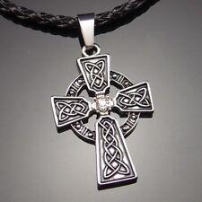"Irish Celtic Knot CZ Cross Pewter Pendant with 20"" Choker Necklace PP#251"