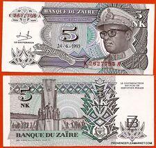 ZAIRE billet neuf 5 NOUVEAUX MAKUTA  Pick48  MOBUTU MILITAIRE  LEOPARD 1993
