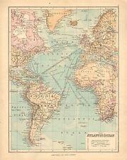 1902 Carta ~ Oceano Atlantico ~ STEAMER i percorsi dei cavi delle ferrovie britanniche possedimenti