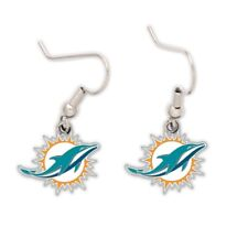 Miami Dolphins Wincraft NFL Team Logo Wire Earrings FREE SHIP