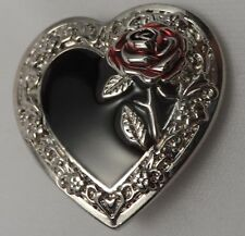 """2500 1 1/4"""" Black Heart With Red Rose Screw Back Concho"""