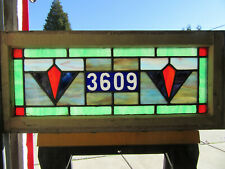 ~ ANTIQUE STAINED GLASS TRANSOM WINDOW ~ 32 x 14 ~ ADDRESS 3609 ~ SALVAGE