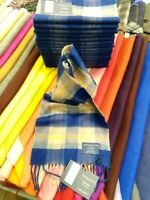 100% Cashmere Scarf | Johnstons of Elgin | Blue Pink Check | Made in Scotland