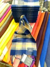 100% Cashmere Scarf   Johnstons of Elgin   Blue Pink Check   Made in Scotland