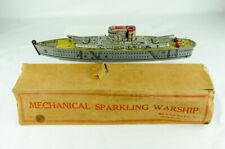 "1950s Marx Toys 15"" Tin Windup USS Washington Sparkling Warship Box Depth Charge"