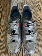 Gently Used Sidi T2 Carbon Mamba Triathlon Cycling Shoe, Silver/Snake 48