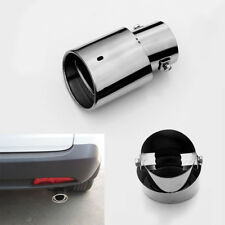 Car Round Exhaust Air Muffler Tip pipe Silver Stainless Steel Chrome Universal