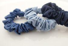 A Set of 3 Denim Scrunchies Blue Light Blue Dark Blue Jean Hair Elastic Set