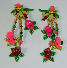 Vtg LUNCH AT THE RITZ Tropical Orchid Pink Green Flower Clip Enamel Earrings