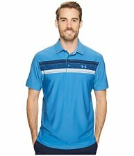 New Under Armour XL Polo Shirt Blue with stripes Heat Gear golf extra large UA
