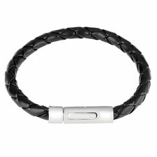 Mens Braided Black Leather and Stainless Steel Wristband Bracelet 7.7 inches