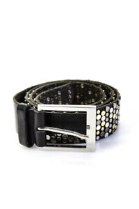 Zadig & Voltaire Womens Leather Studded Silver Tone Buckle Belt Black