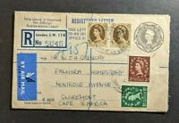 Vintage London England Registered Airmail Cover to Claremont Cape South Africa