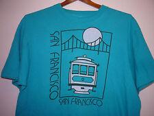 Vintage 80s San Francisco Trolley Car T Shirt Blue L