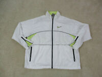 VINTAGE Nike Jacket Adult Large White Yellow Swoosh Windbreaker Mens 90s B29*
