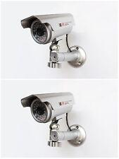 Fake Security Cameras x 2 - Latest Design - Solar Powered Red LED Light