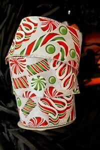 "Wire Edged Candy Cane Twist Wired Ribbon 2.5"" Christmas Wedding Bow  Wreath"