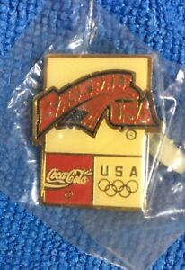 Baseball Olympic Pin Badge Barcelona  1992  Coca Cola