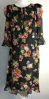 Laura Ashley Retro Floral Ruffle Lined Dress Black Shiffon Size 14