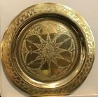 """HandMade Embossed Brass AWall Plate Floral Geometrical 8"""" Purchased In Morocco"""