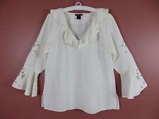 TB03536- NEW NATORI Woman 55% Linen Rayon 3/4 Sleeve Blouse Ruffle White Sz L