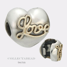 Authentic Pandora Sterling Silver & 14K Heart of Love Clip 791735