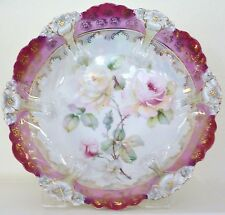 R S Prussia Burgundy Cabinet Bowl Art Nouveau Mold 29 Roses Pearl Finish Fancy