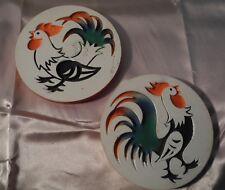 "Vintage Retro Chalkware Plaques ~ Roosters ~ 1965 ~ 5 3/4"" Diameter ~ Nice"