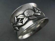 Wonderful Antique Sterling Napkin Ring applied berry & floral pattern Aesthetic