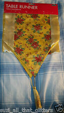 NEW TABLE RUNNER: SILKY GOLDEN YELLOW DESIGNED & TASSELS - CHRISTMAS, WEDDINGS
