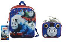 "Thomas the Train Engine Mini 10"" Canvas Blue School Backpack W/Lunch Bag"