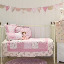 Baby Girls 5 pce Mia Pink Patchwork Cot Quilt Vintage Floral Shabby Chic Crib