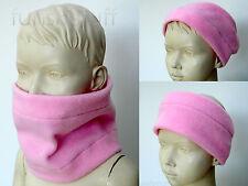 Infant NECK WARMER scarf snood girls toddler baby LIGHT PINK FLEECE hat nursery