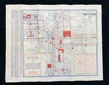 DENVER COLORADO Original 1920s POSTER MAP w/ Grand Lake Estes Park Idaho Springs