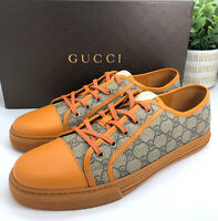 Gucci Authentic GG Plus Orange Leather Low Top Sneakers 12 US 12.5/13 W/ Box