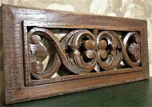 Scroll leaf pierced wood carving pediment Antique french architectural salvage