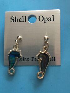 Genuine Paua Shell Opal Silver Stud Earrings Sea Horse Brand New Unworn