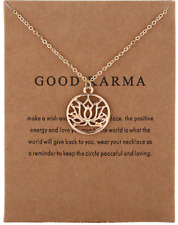 Good Karma Luck Lotus Flower Necklace/Pendant Set Good Luck Charm Make a Wish