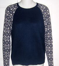 Chaps  Cotton Blend Navy Blue with Print Sleeves  Sweater Size Small-VGC