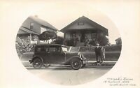 South Bend Indiana~Couple Dog & Vintage Car in Front of Bungalow~1929 RPPC