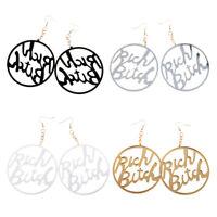 Acrylic Large Rich Bitch Letters Dangle Earrings Women Hip Hop Party Jewelry