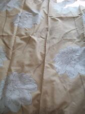 Pale gold lined faux silk  curtains with outline of flower 86x65  (117)