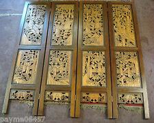 Vintage Solid Wood Hand Carved 4 Panel Room Divider 6' x 6'